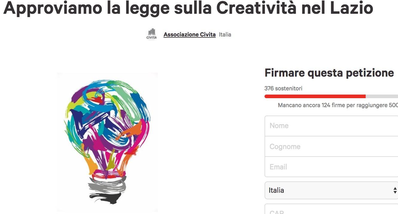 Legge sulle Creatività Lazio